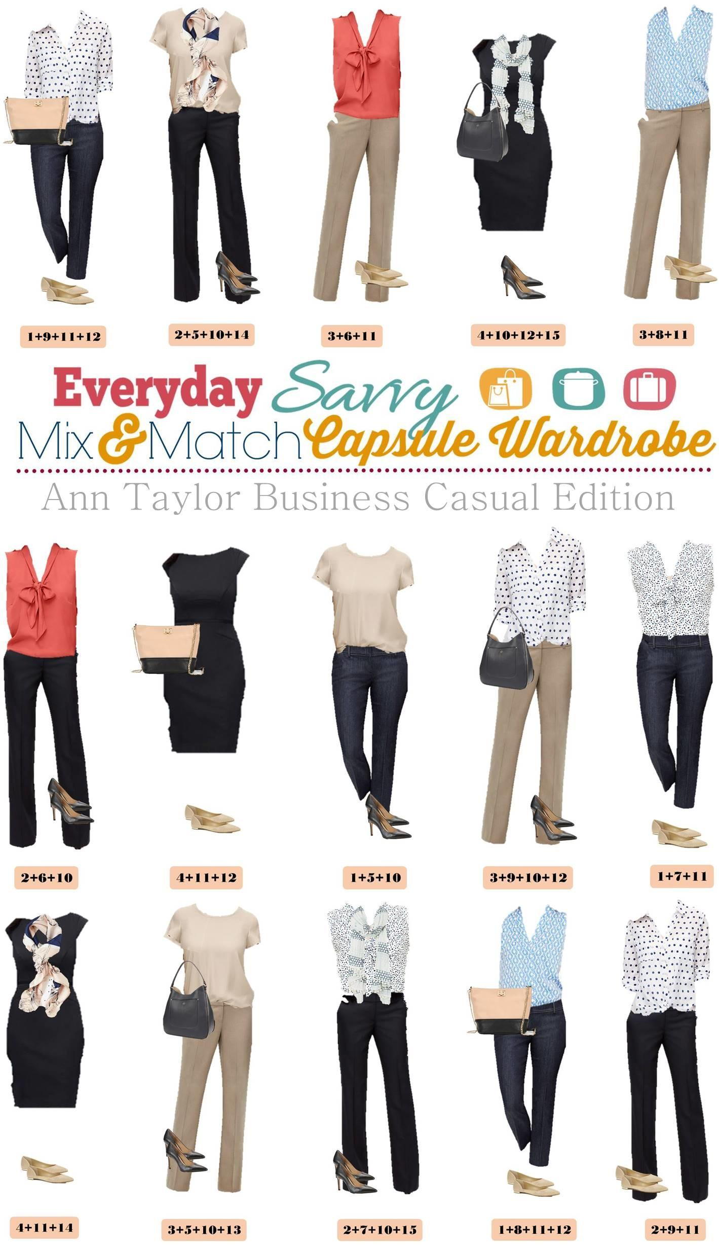 Ann Taylor Business Casual Capsule Wardrobe Mix Match