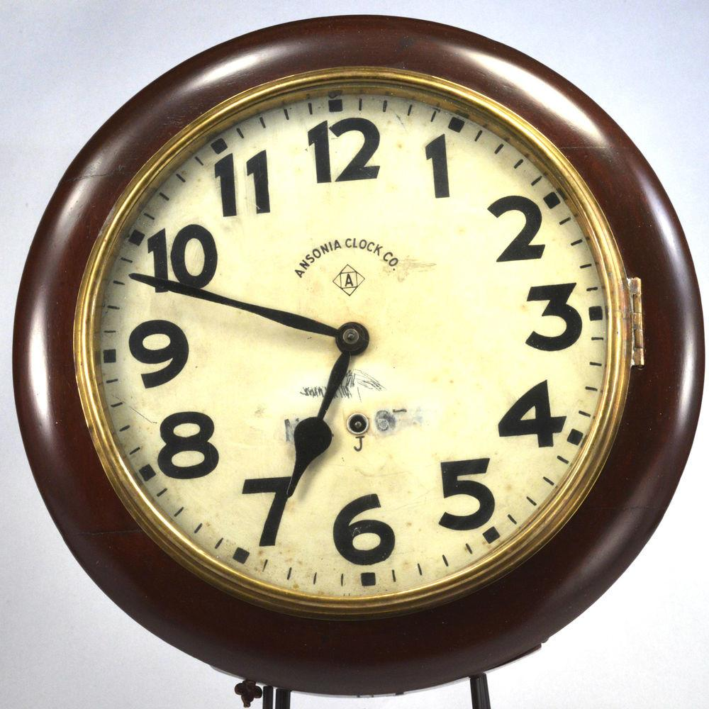 Ansonia Round Wall Clock Painted Facewood