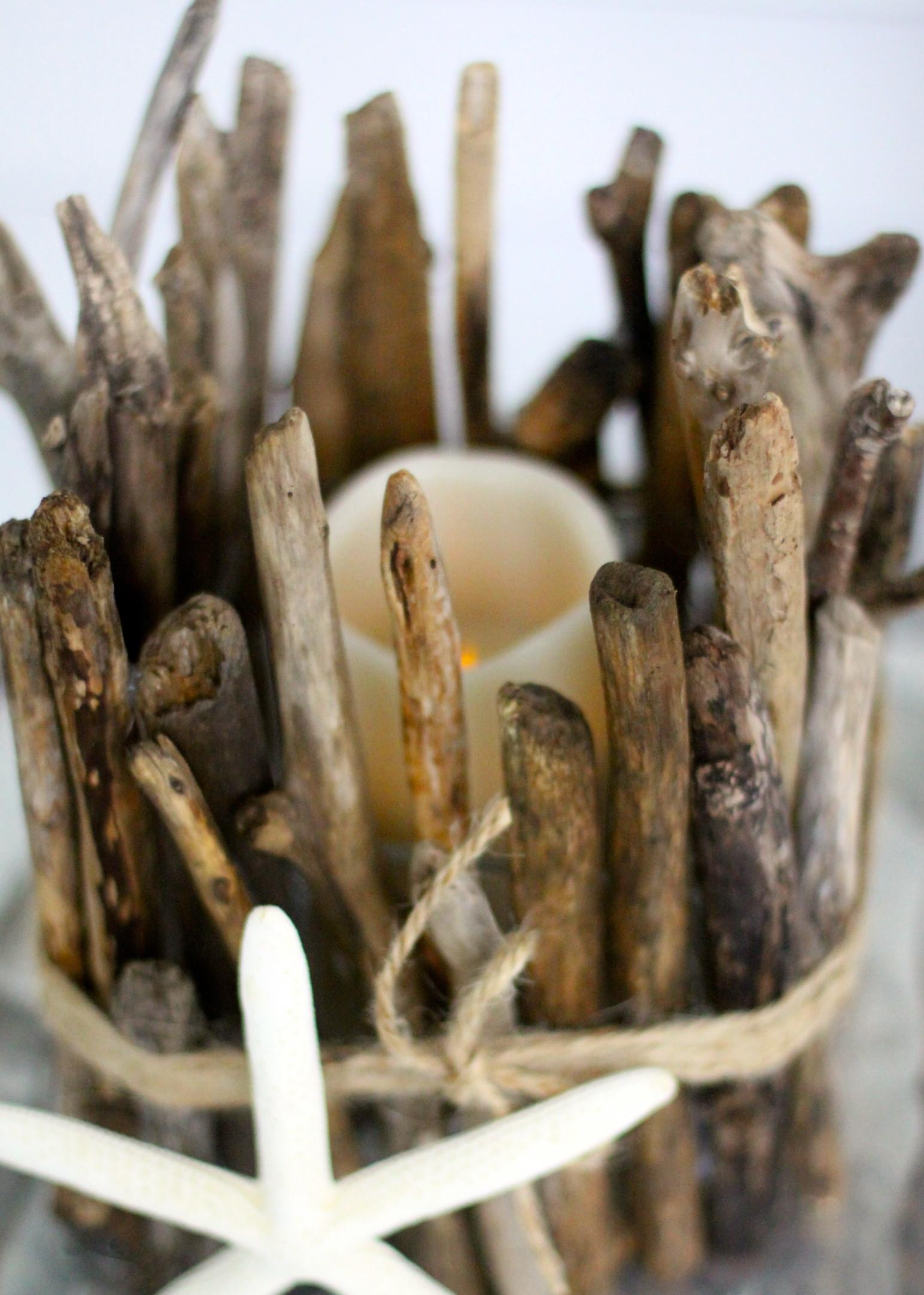 Anthropologie Inspired Diy Driftwood Candle Holder Love