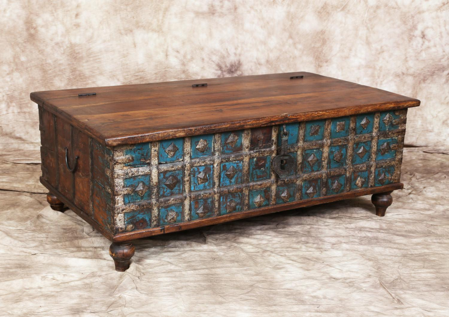 Antique Blue Cream Indian Trunk Coffee Table Metal Latch
