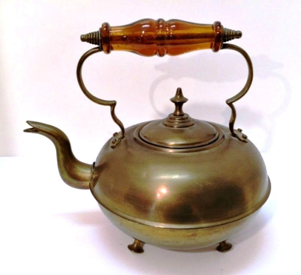 Antique Brass Footed Kettle Lid Amber Glass Handle