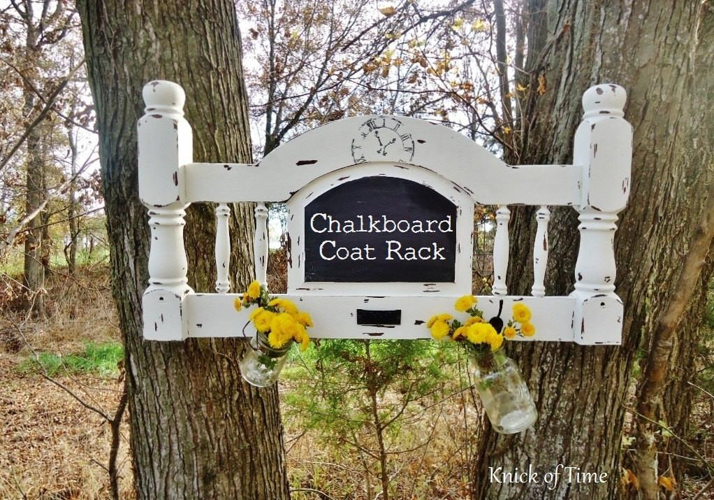 Antique Chalkboard Coat Rack Wall Hooks Created