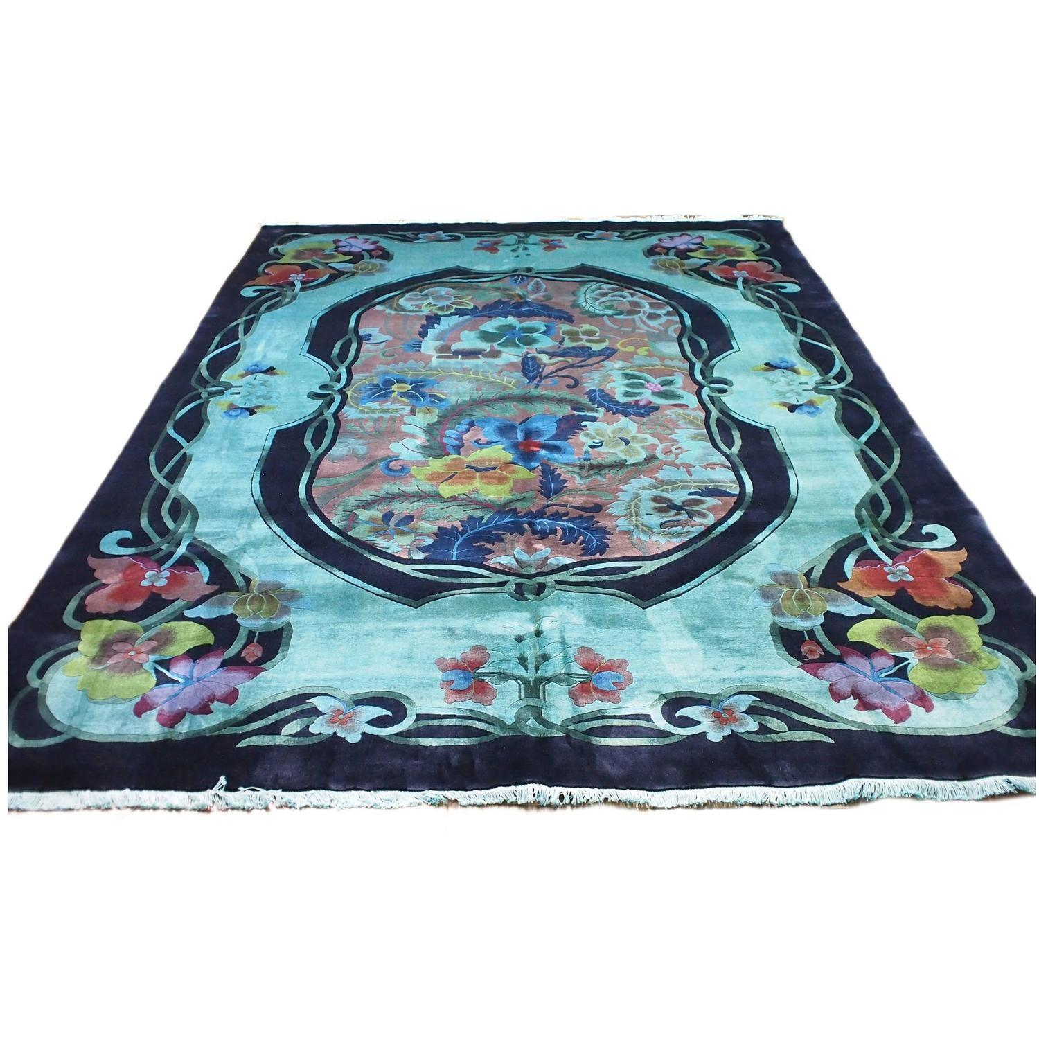 Antique Chinese Deco Teal Overdyed Rug Sale 1stdibs
