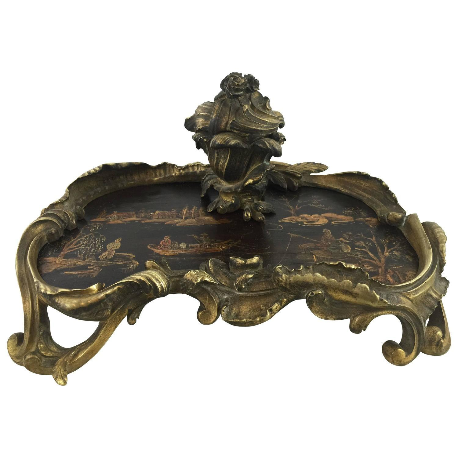Antique Chinoiserie Ormolu Lacquer Encrier Sale