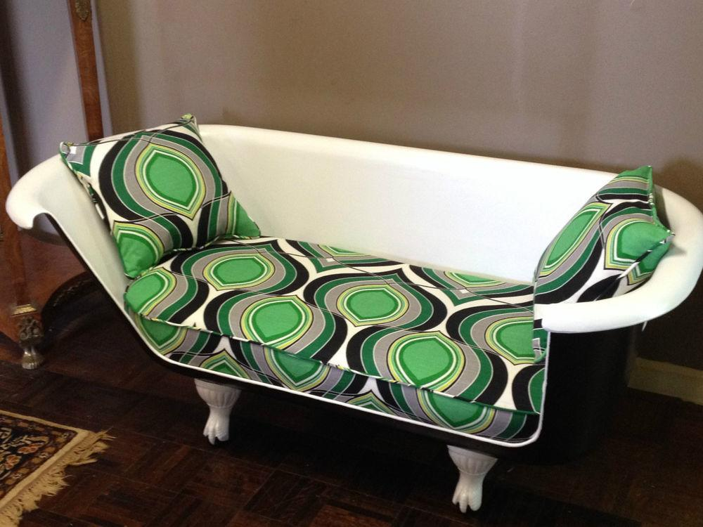 Antique Clawfoot Cast Iron Tub Sofa Couch Loveseat Painted