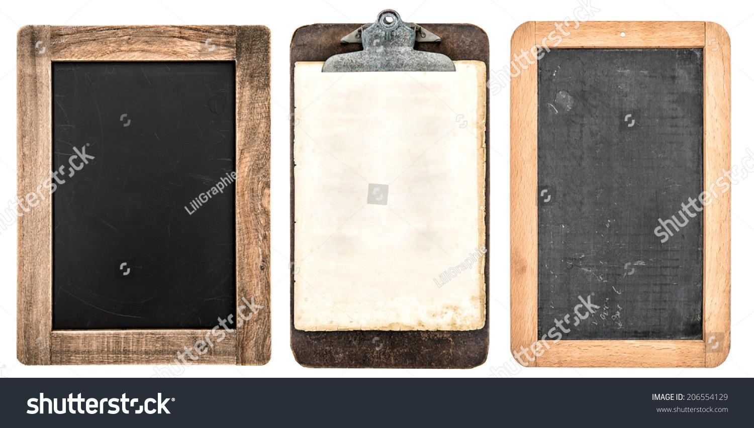 Antique Clipboard Chalkboard Wooden Frame Isolated Stock