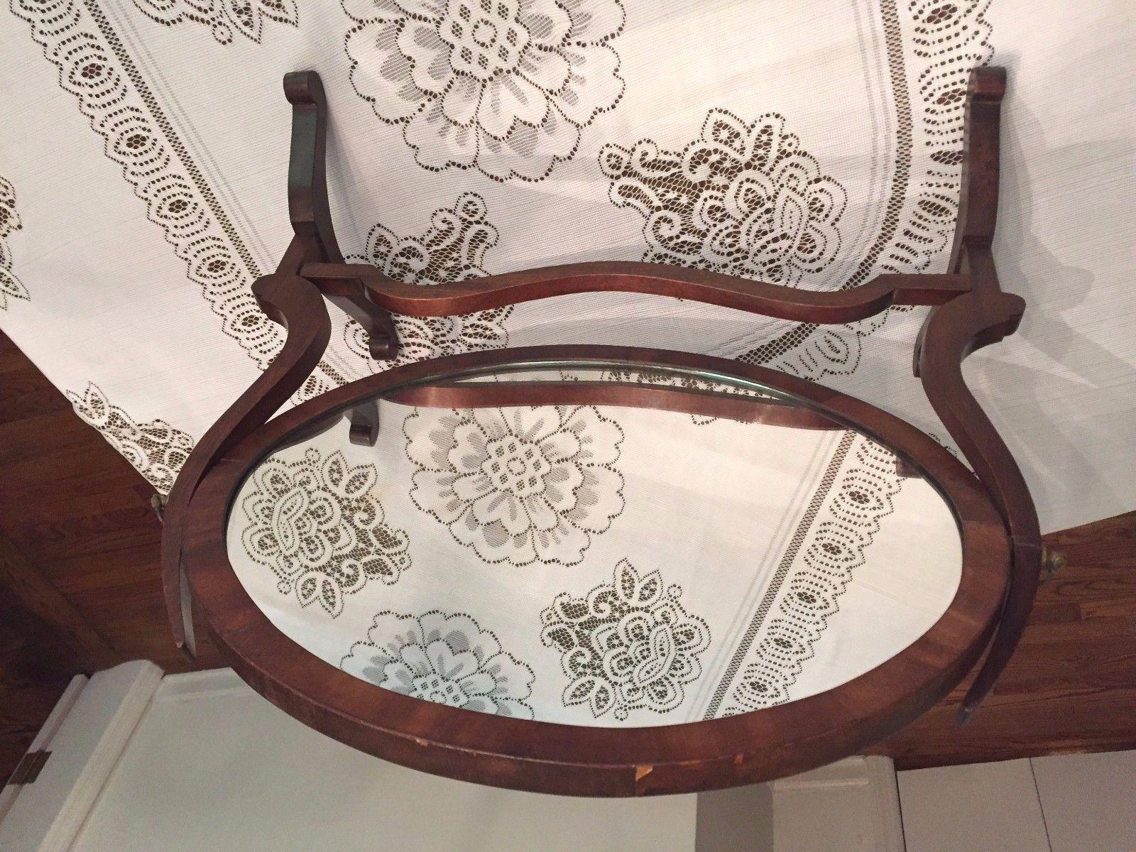 Antique Federal Style Oval Shaving Mirror Mahogany Frame