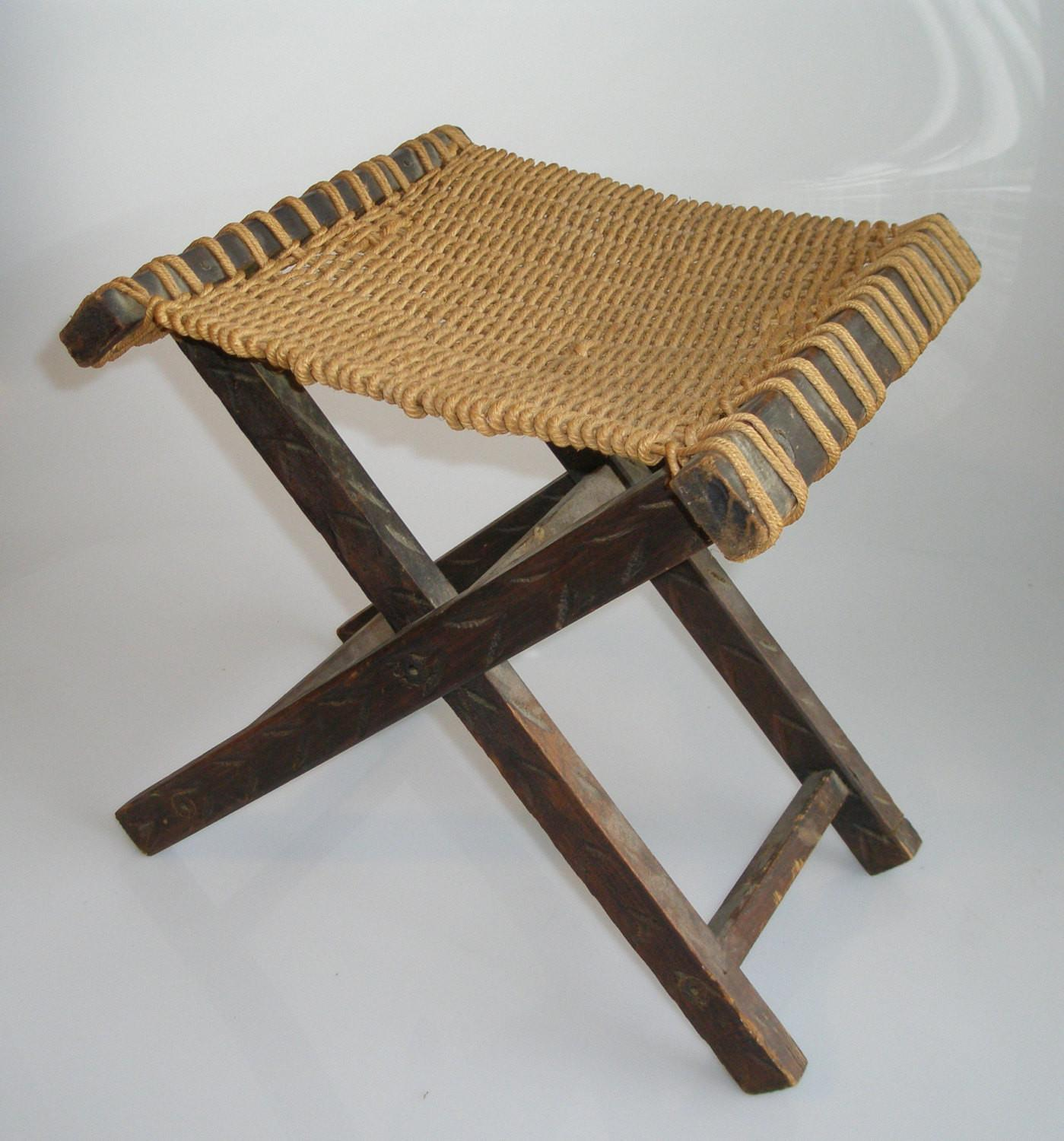 Antique Folding Mexican Stool Woven Rope Seat Vintage