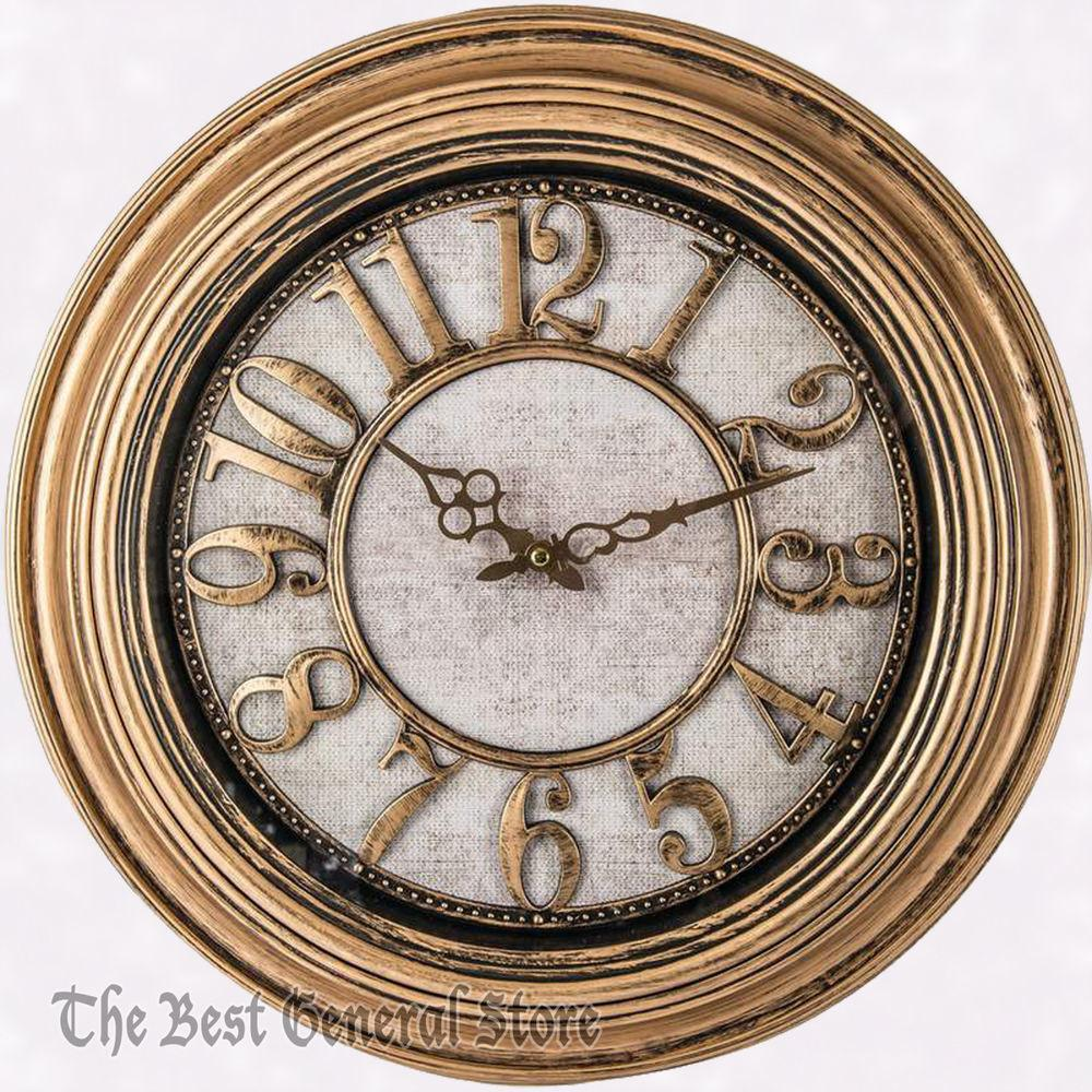 Antique Gold Tone Frame Round Wall Clock Battery