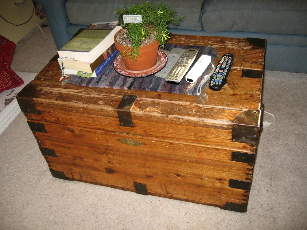 Antique Immigrant Trunk Great Coffee Table Storage