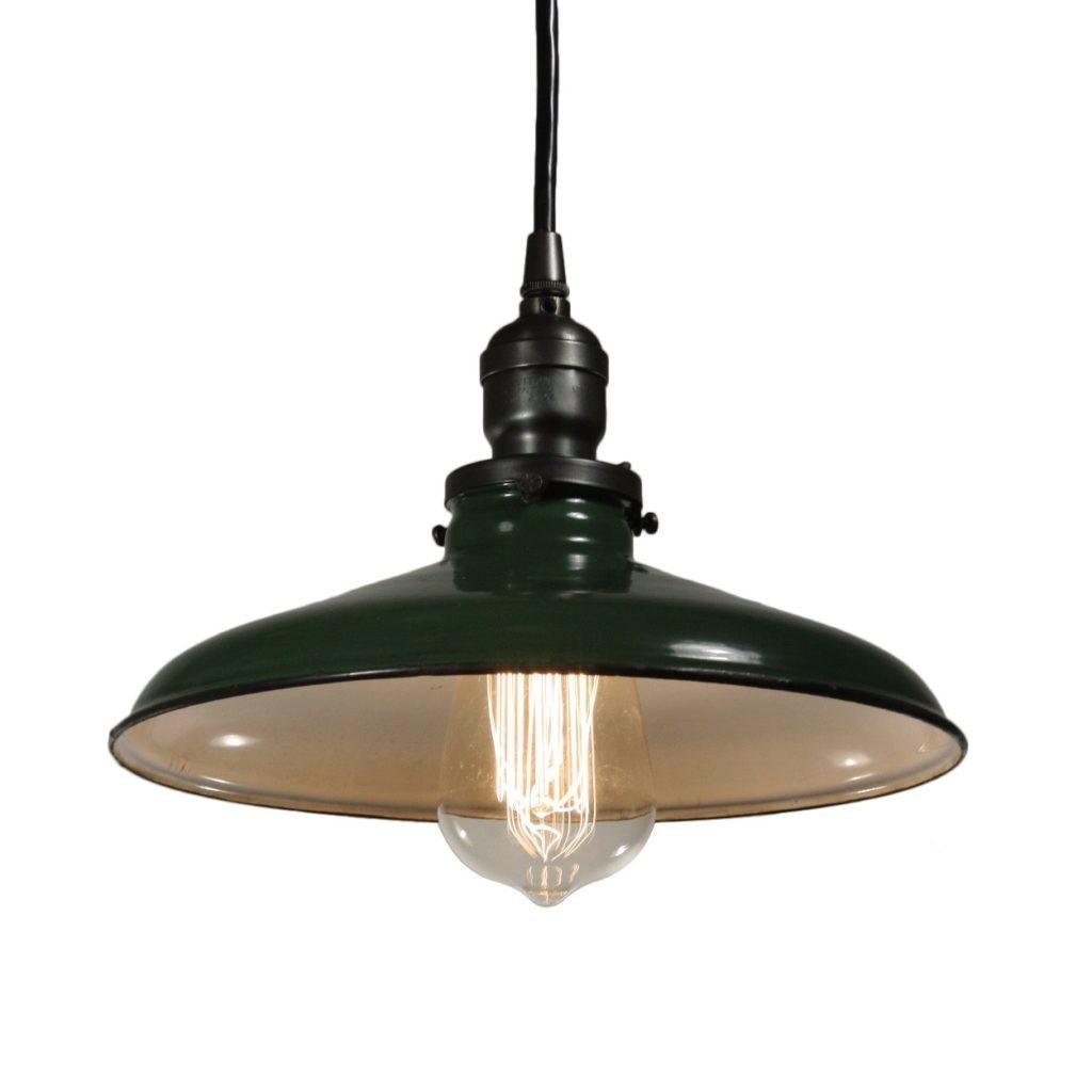 Antique Industrial Pendant Light Green Enamel
