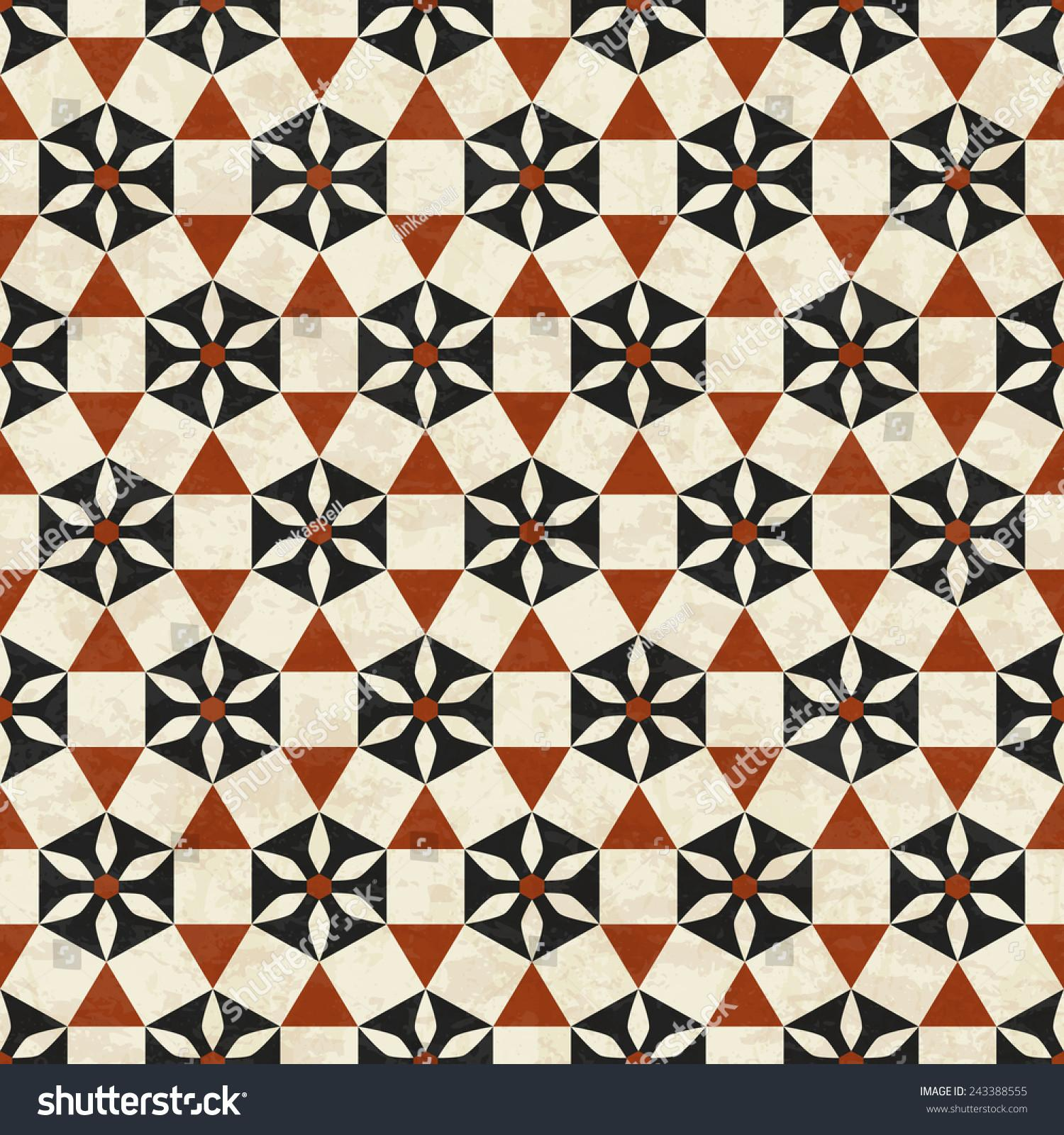 Antique Marbled Floor Tiles Abstract Geometric Stock