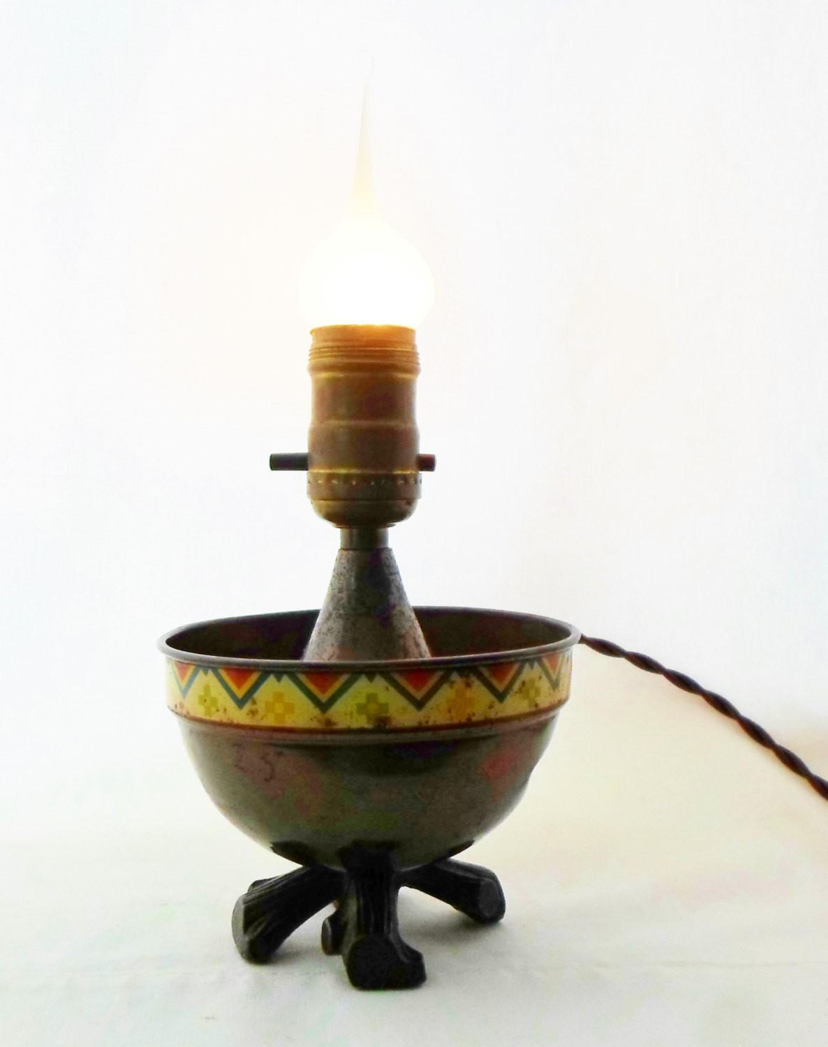 Antique Native American Indian Lamp Lighting Campfire