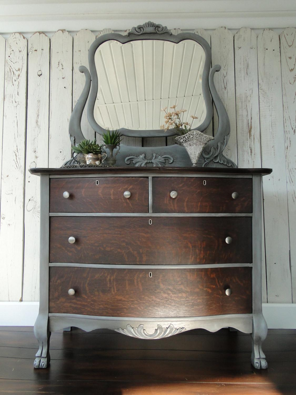 Antique Painted Chest Drawers Dresser Ornate Trwpainted