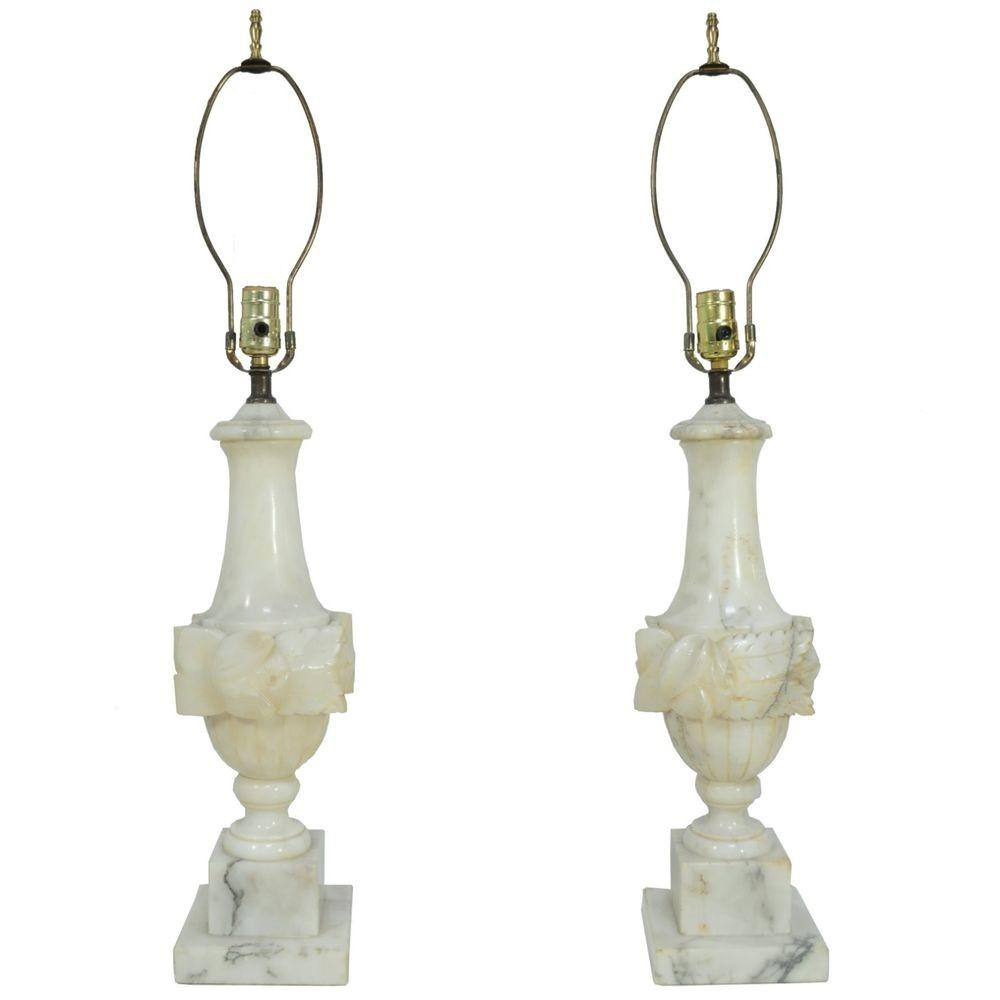 Antique Pair Italian Carved Marble Neoclassical Floral Urn