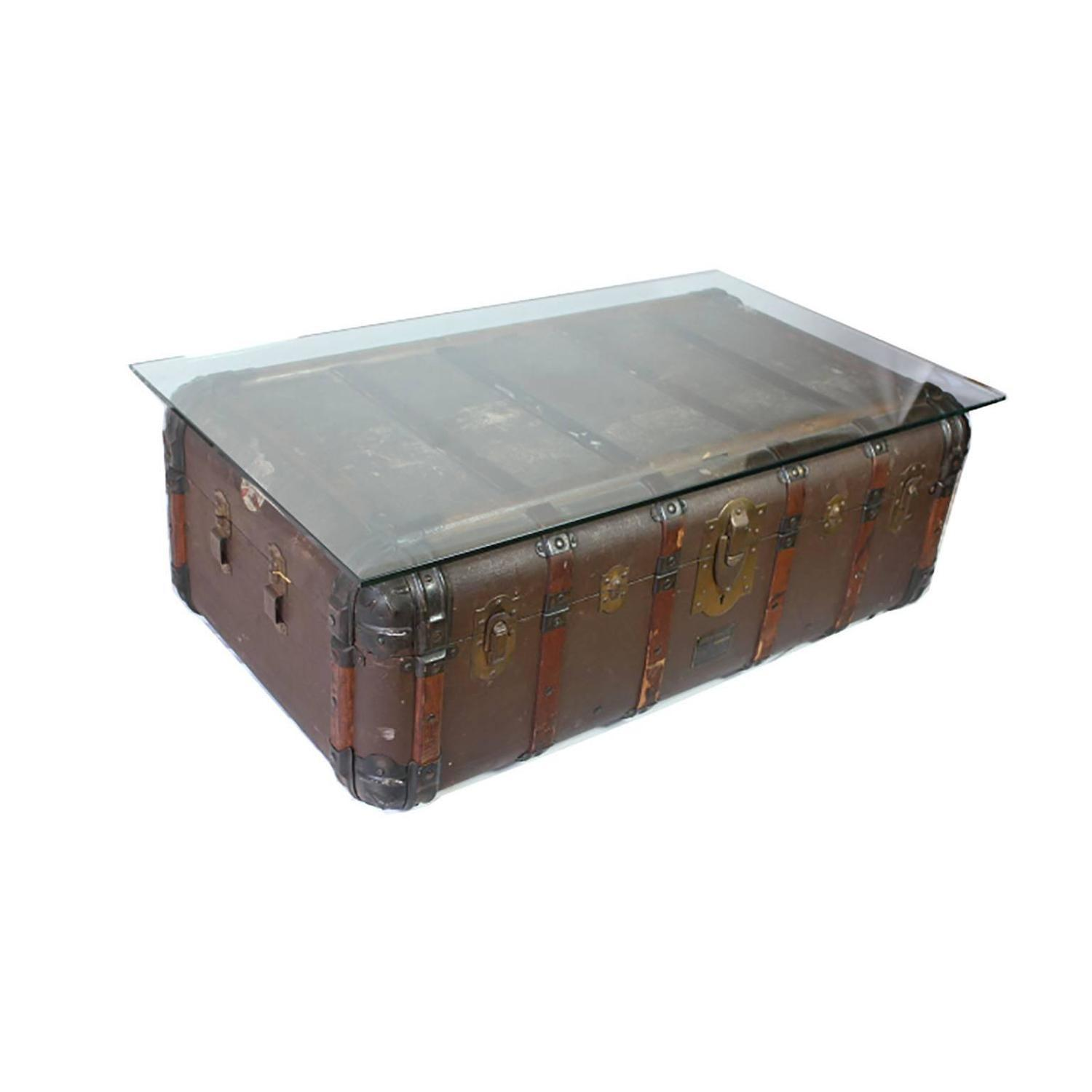 Antique Steamer Trunk Coffee Table Side Circa 1900