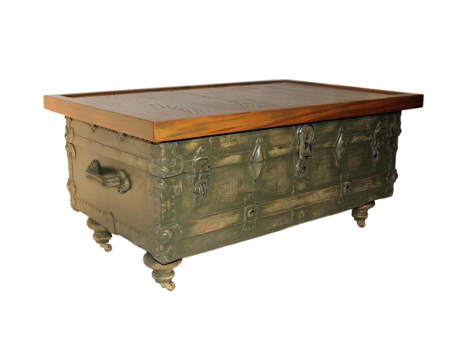 Antique Trunk Coffee Table Reclaimed Wood Top