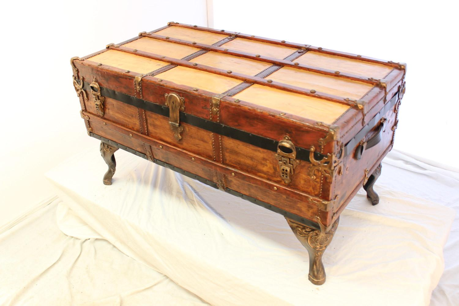 Antique Trunk Coffee Table Telliottworks Etsy