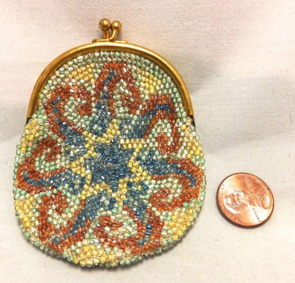 Antique Vintage Double Sided Crochet Glass Beaded