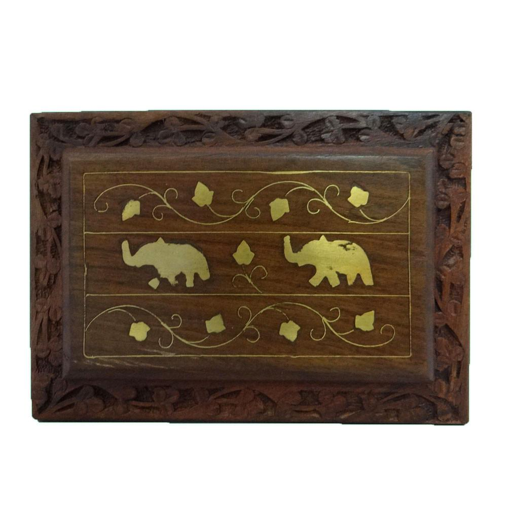 Antique Vintage Style Small Wooden Jewelry Box Decorative