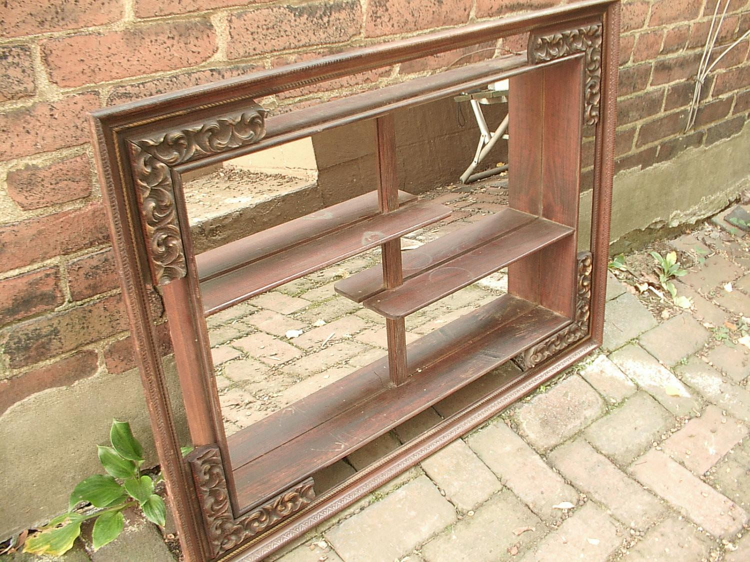 Antique Wall Mirrored Shelves Wood Shabby Chic