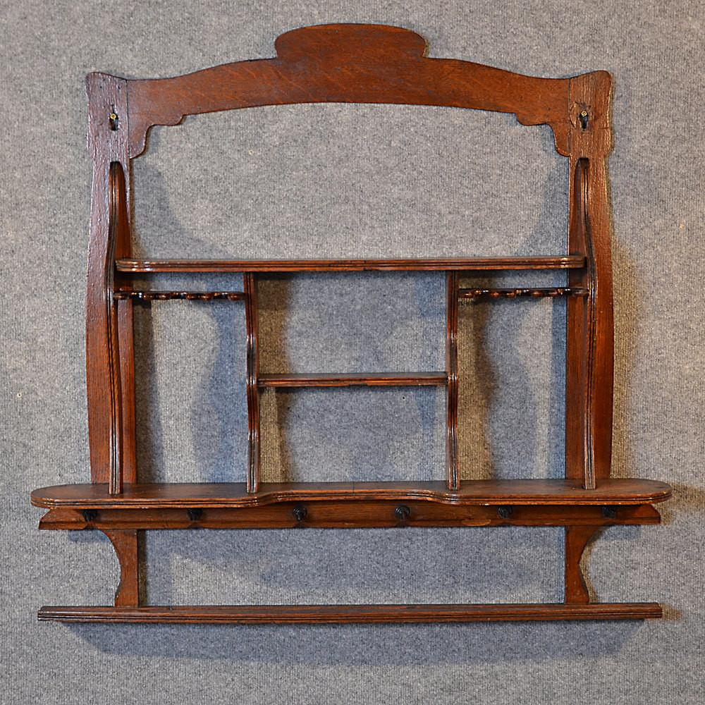 Antique Wall Shelf Bookcase Display Edwardian Oak