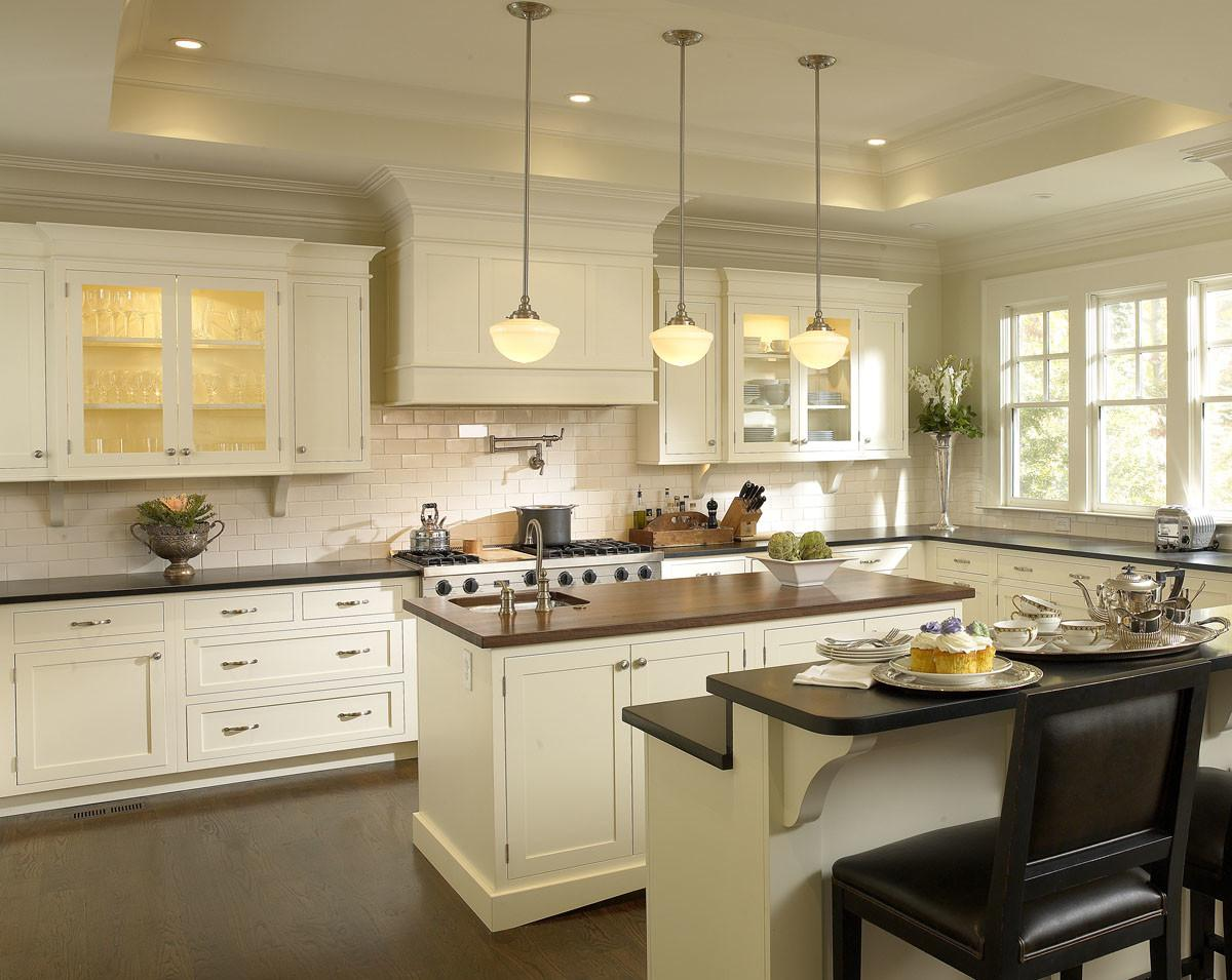 Antique White Cabinets Modern Kitchen Design Idea Feat