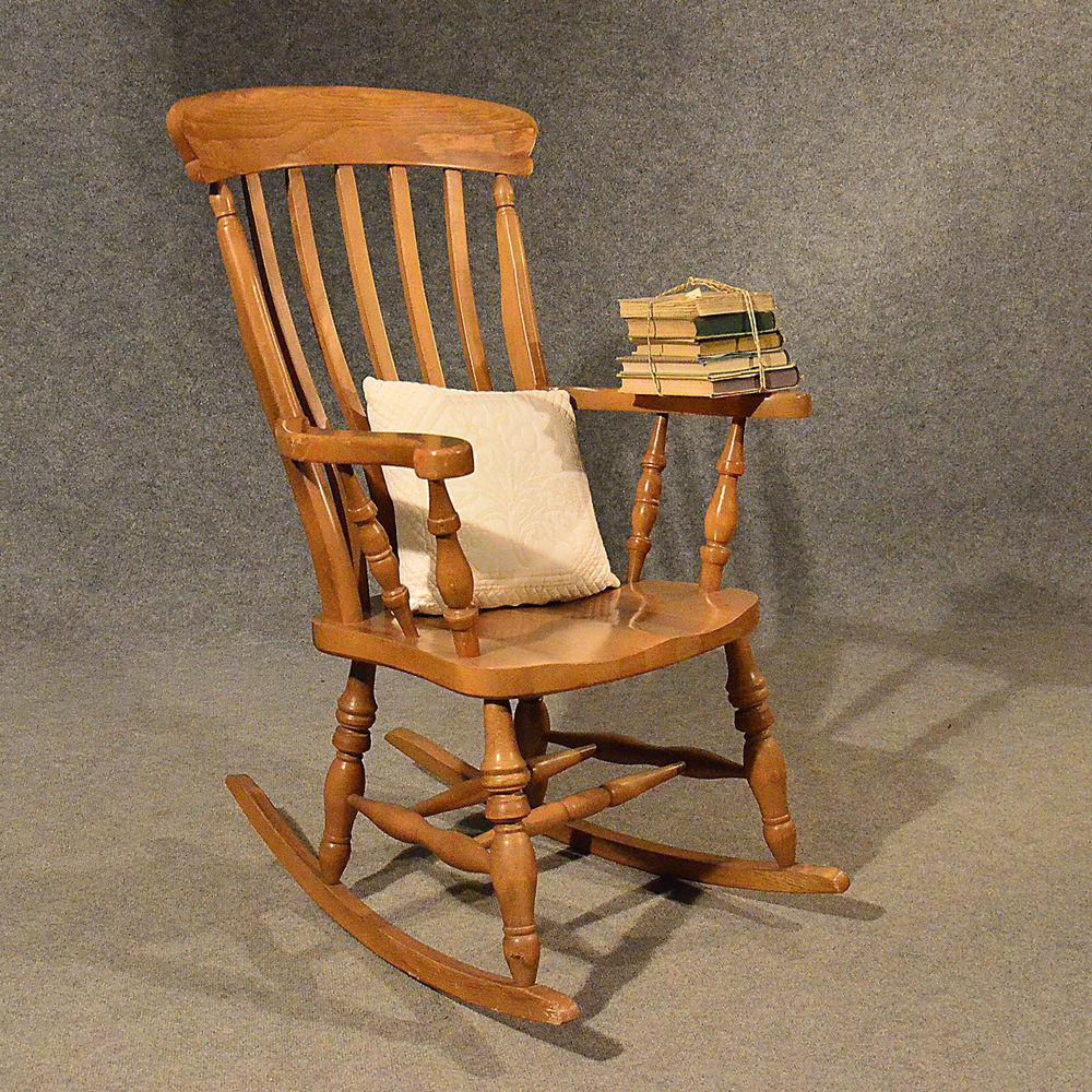 Antique Windsor Rocking Chair Large Beech Easy Country