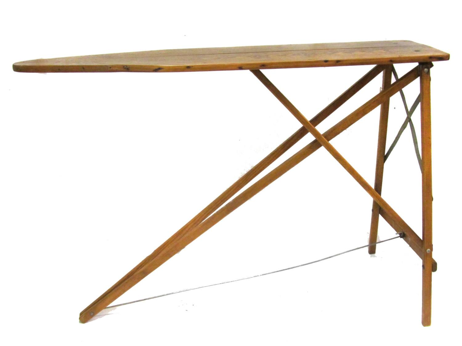 Antique Wood Ironing Board Sofa Table Industrial Decor