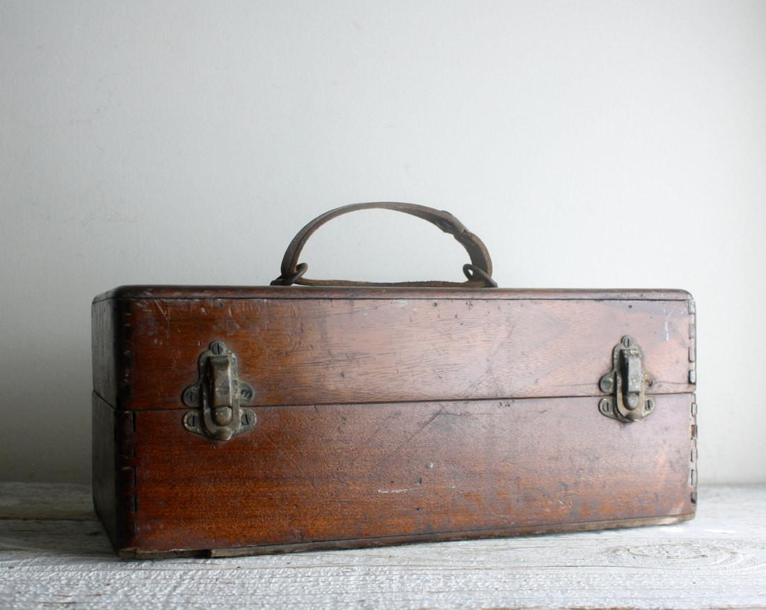 Antique Wooden Box Leather Handle