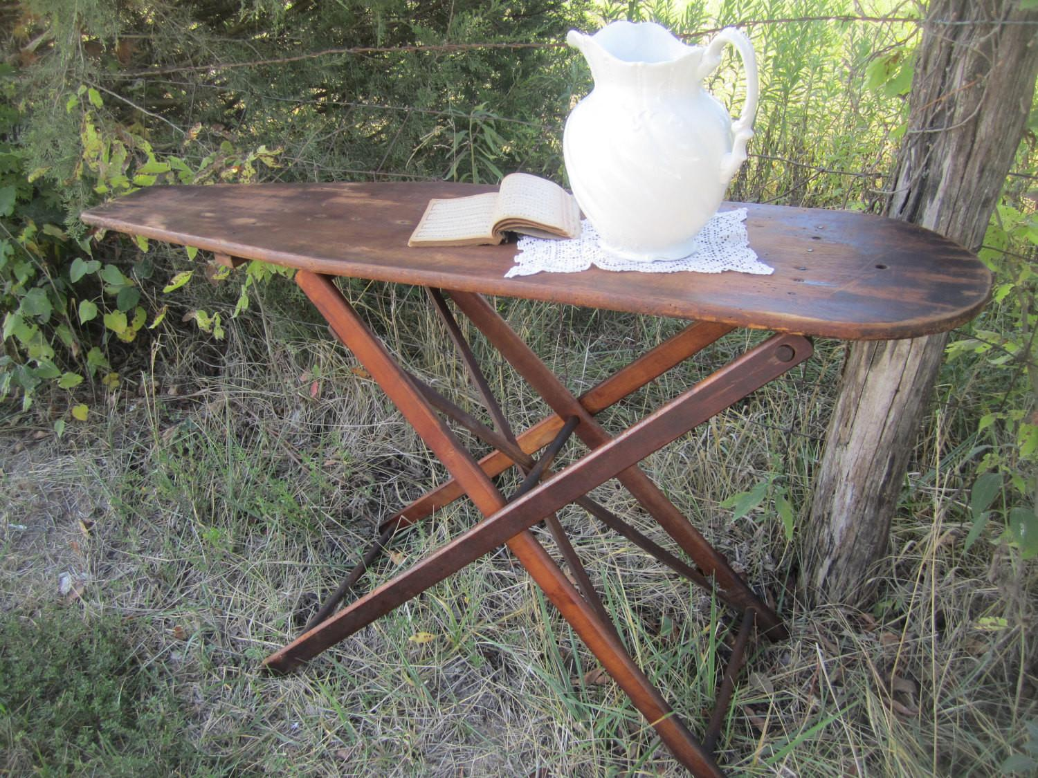 Antique Wooden Ironing Board Sofa Table Serving Knickoftime