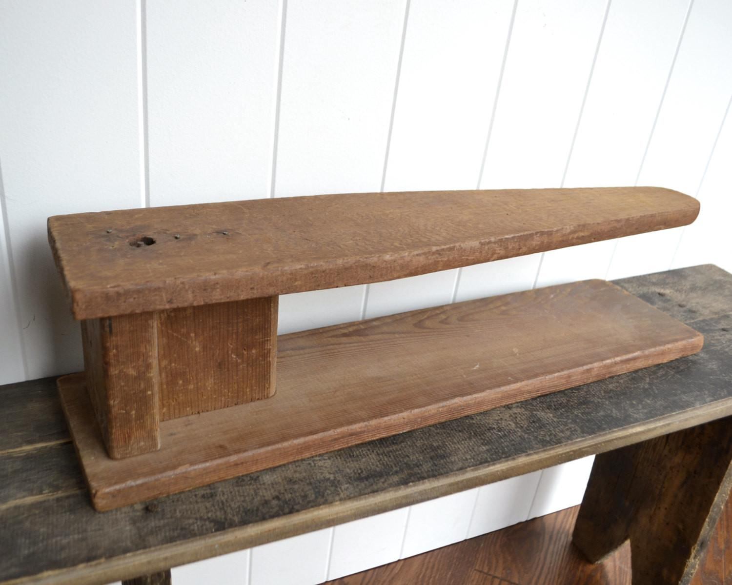 Antique Wooden Ironing Board Wood Tabletop Sleeve