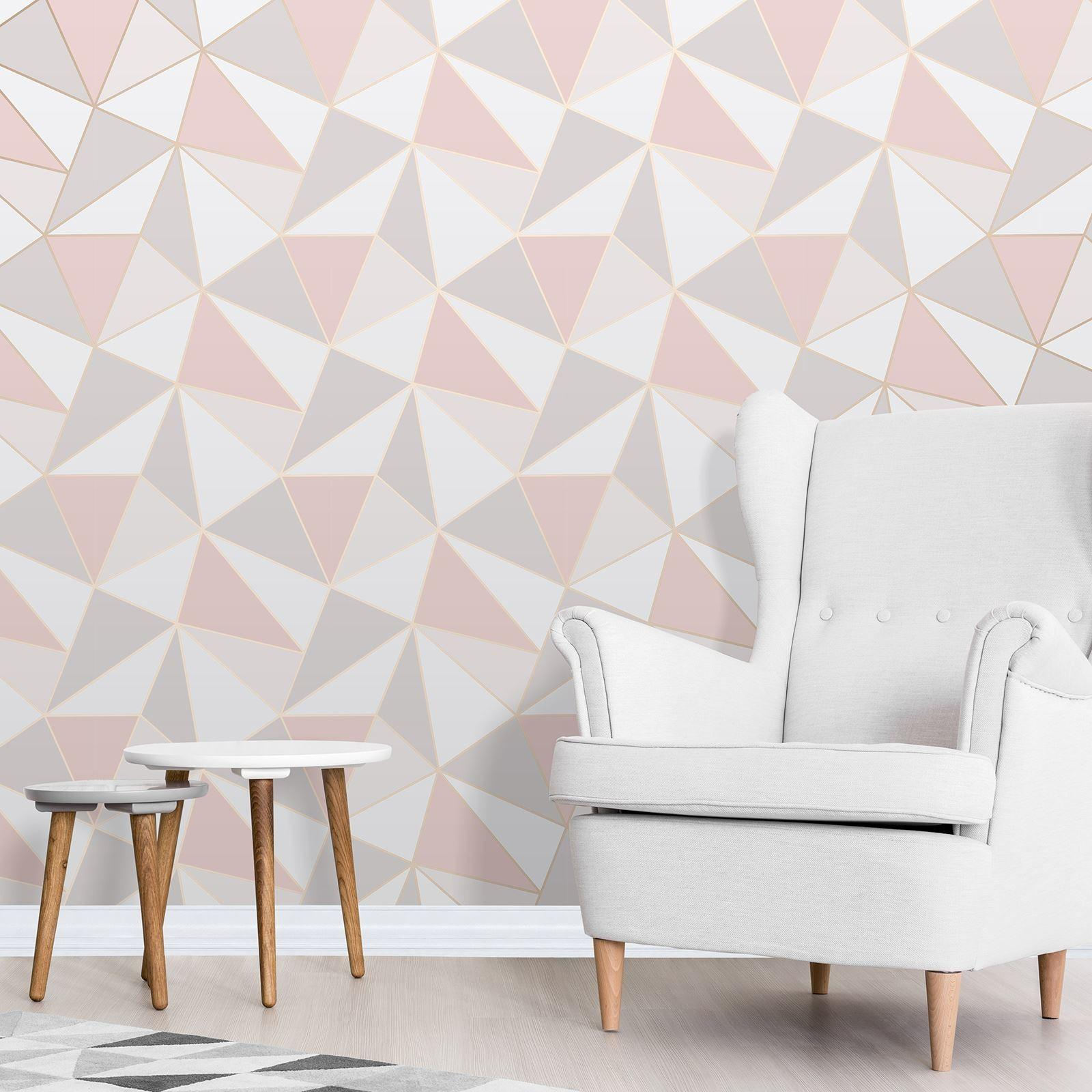 Apex Geometric Rose Gold Pink Fine Decor