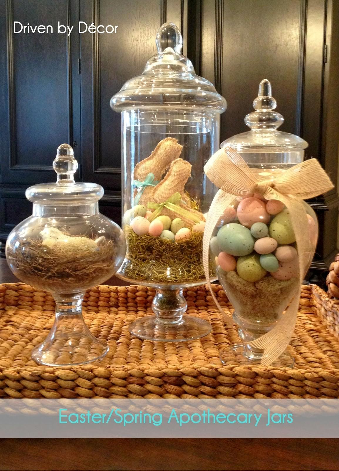 Apothecary Jars Decorated Spring Easter Driven Decor