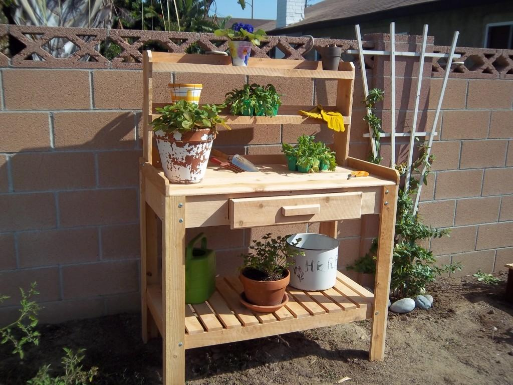 Appealing Lower Shelf Simple Wooden Planting Table