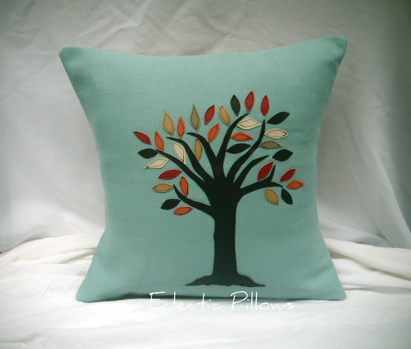 Appliqued Fall Leaves Tree Accent Pillow