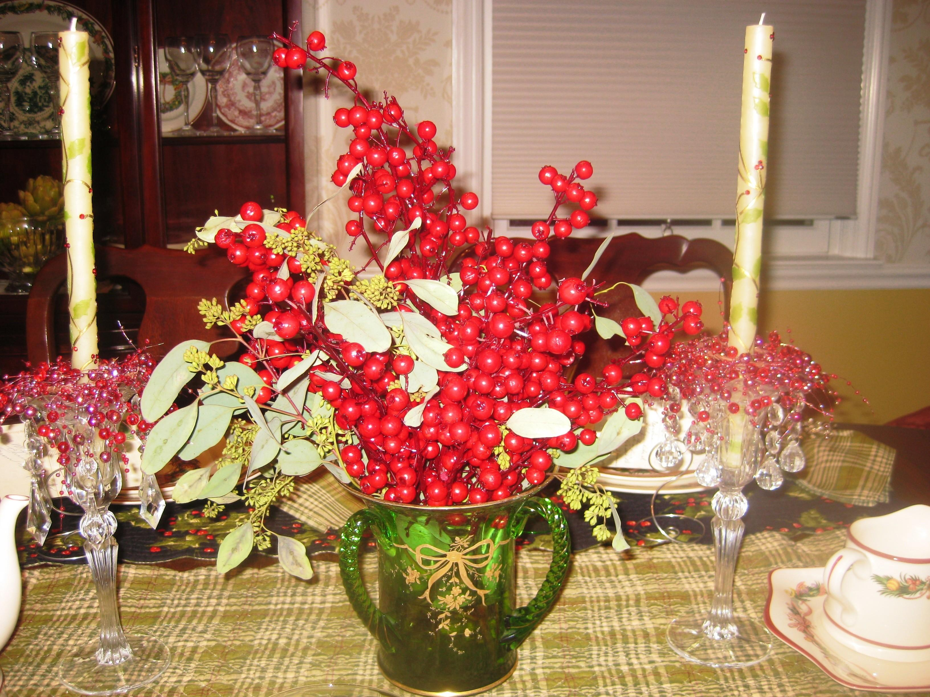 Apres Christmas Dinner Holly Berry Themed Tablescape