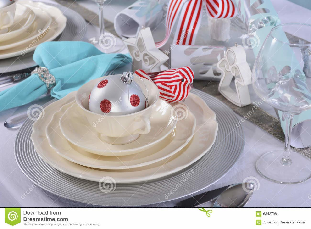 Aqua Red White Christmas Table Setting Stock