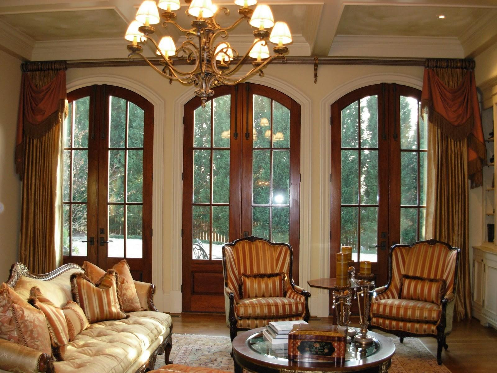 Arched French Door Luxurious Classic Drapes Window