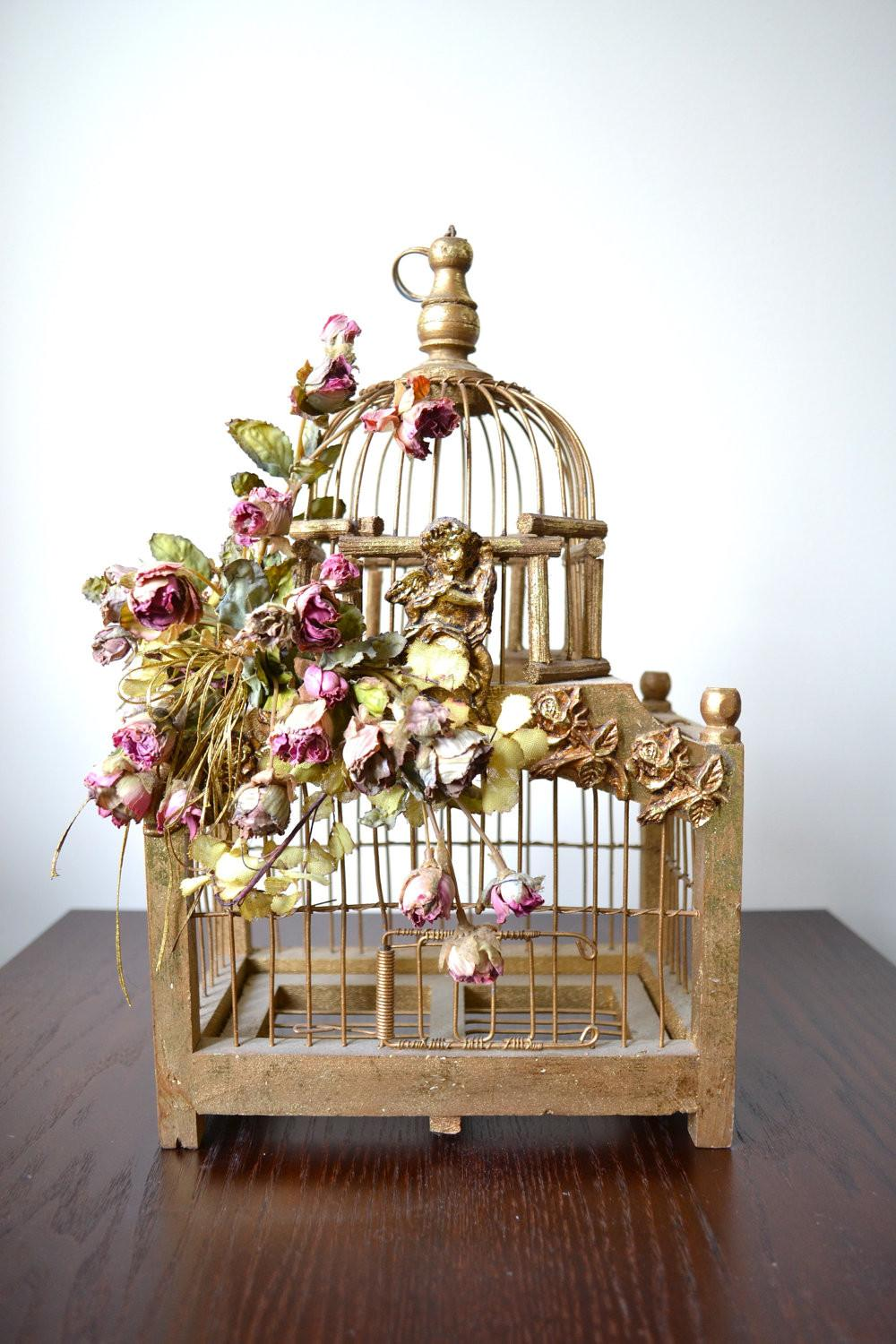 Architectural Metal Bird Cage Decorative Wooden