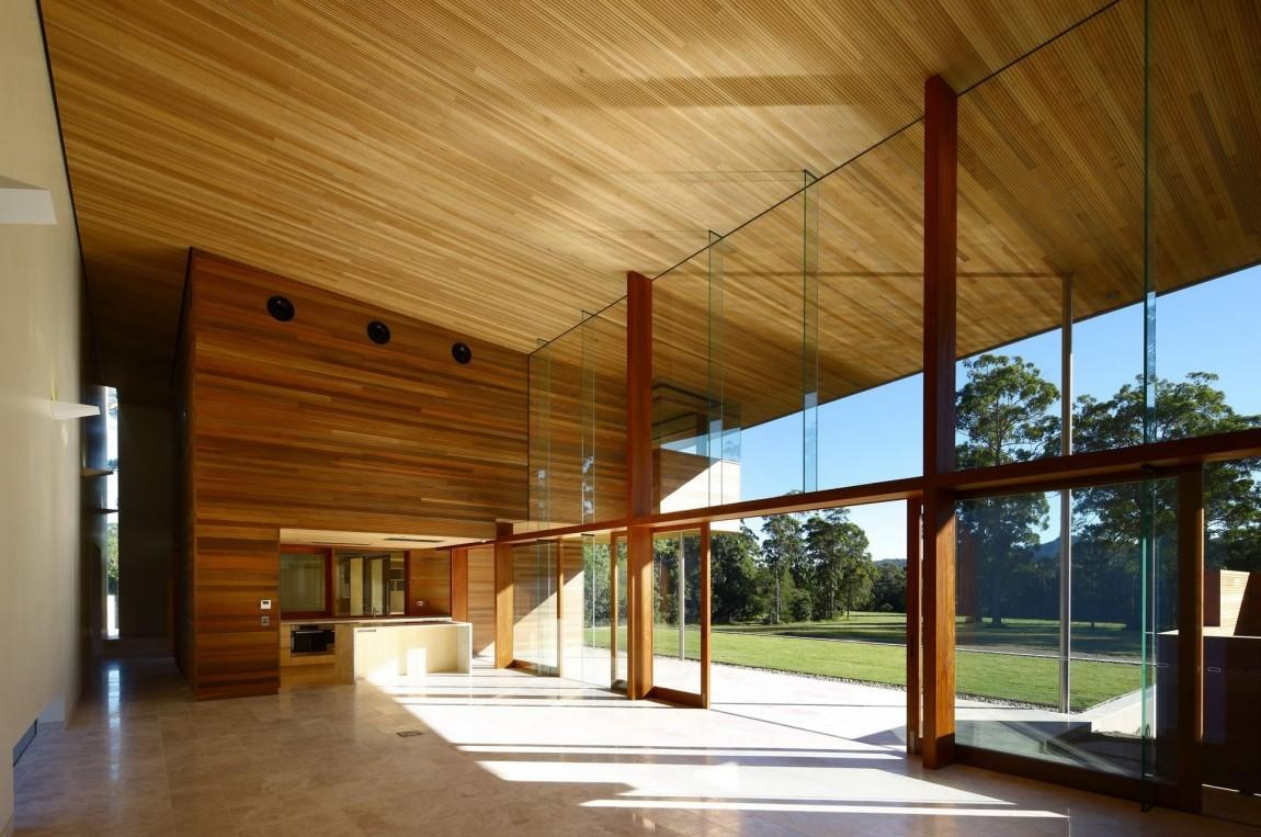 Architecture Open Interior Plan Wooden Plank Ceiling