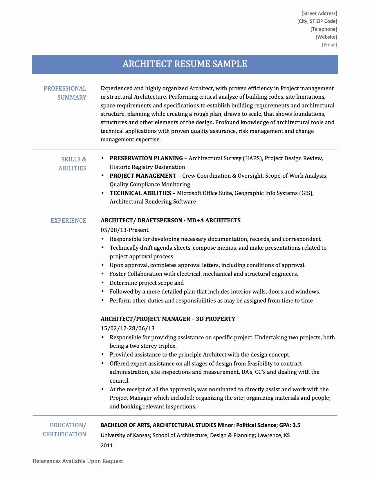 Architecture Resume Examples New Portal Architect
