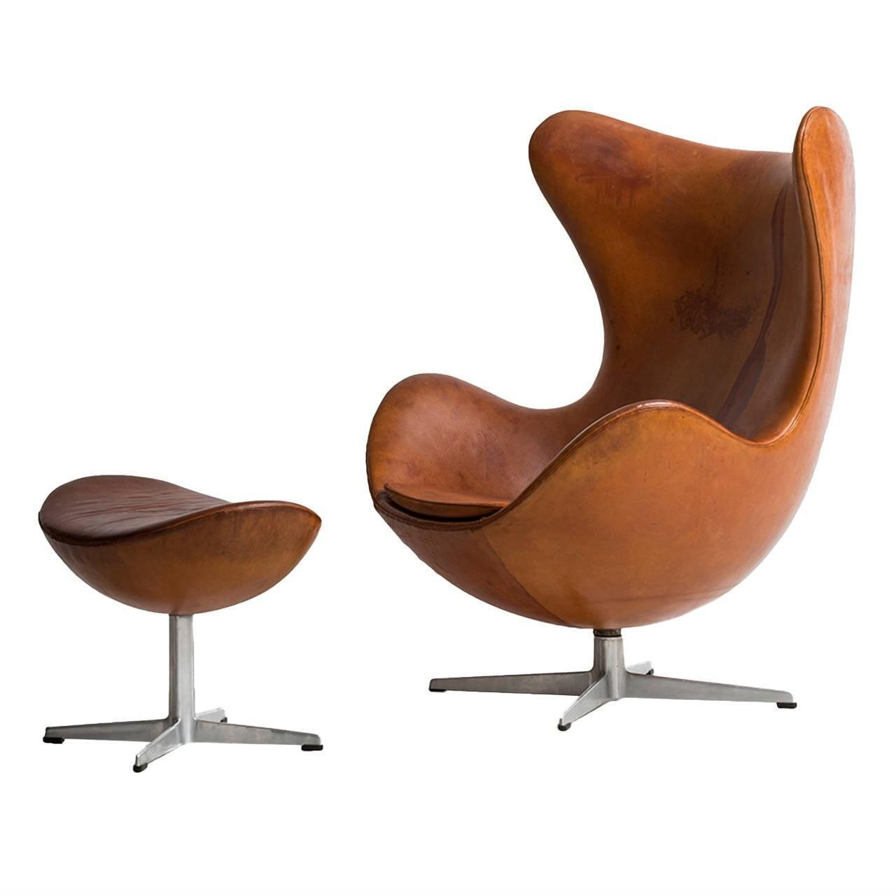 Egg Chair Cognac.Arne Jacobsen Egg Chair Original Cognac Brown Leather