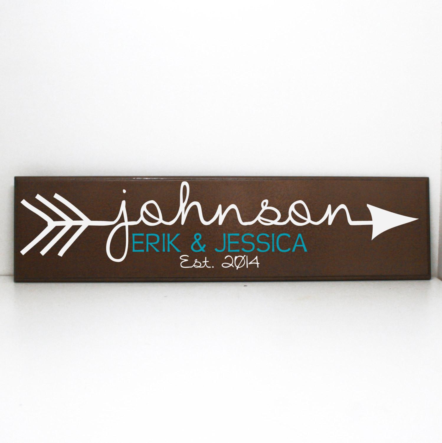 Arrow Custom Last Name Wood Sign Personalized Levinyl