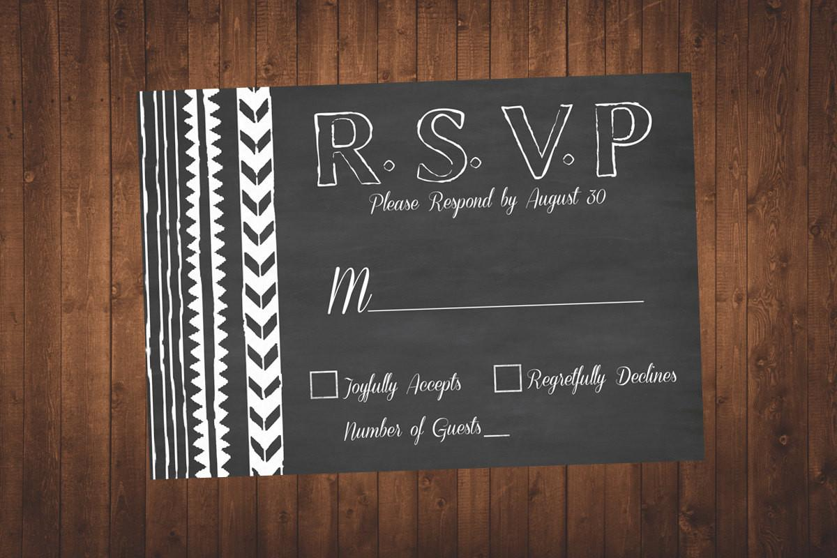 Arrow Wedding Rsvp Chalkboard Card Diy Digital