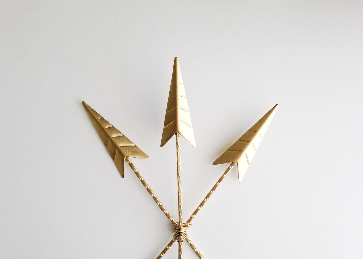 Arrows Wall Decor Gold Arrow Art Painted
