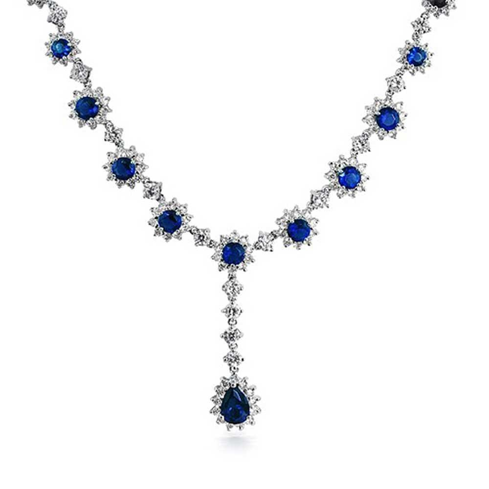 Art Deco Flower Crown Set Sapphire Color Necklace