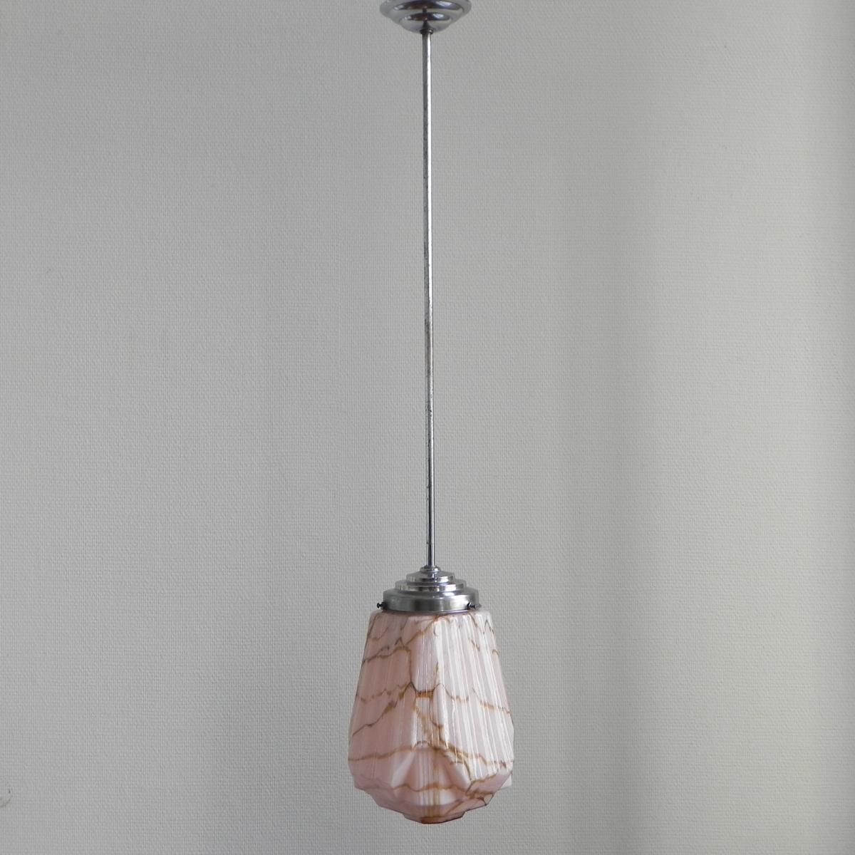 Art Deco Hanging Lamp Pink Glass Shade 1930s
