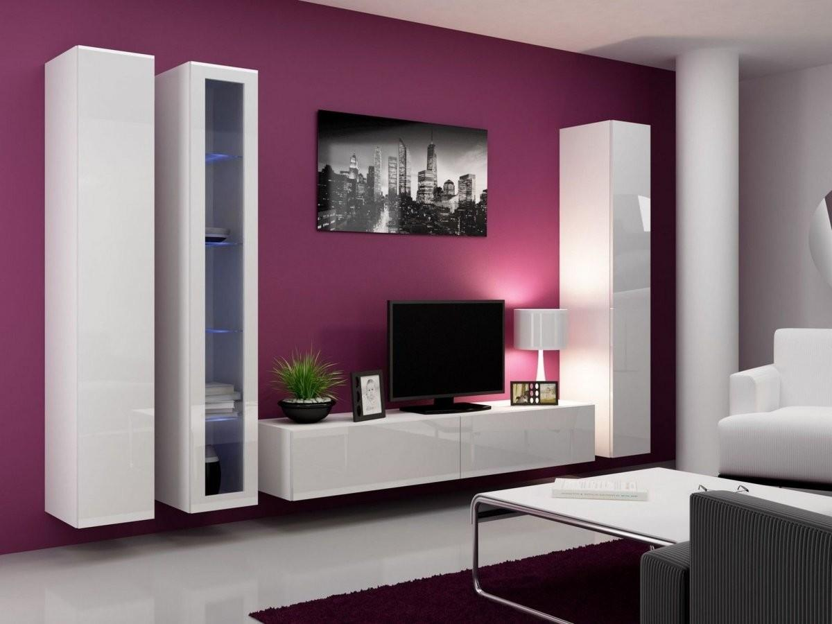 Art Deco Living Room Lacquer White Wall Mounted Media