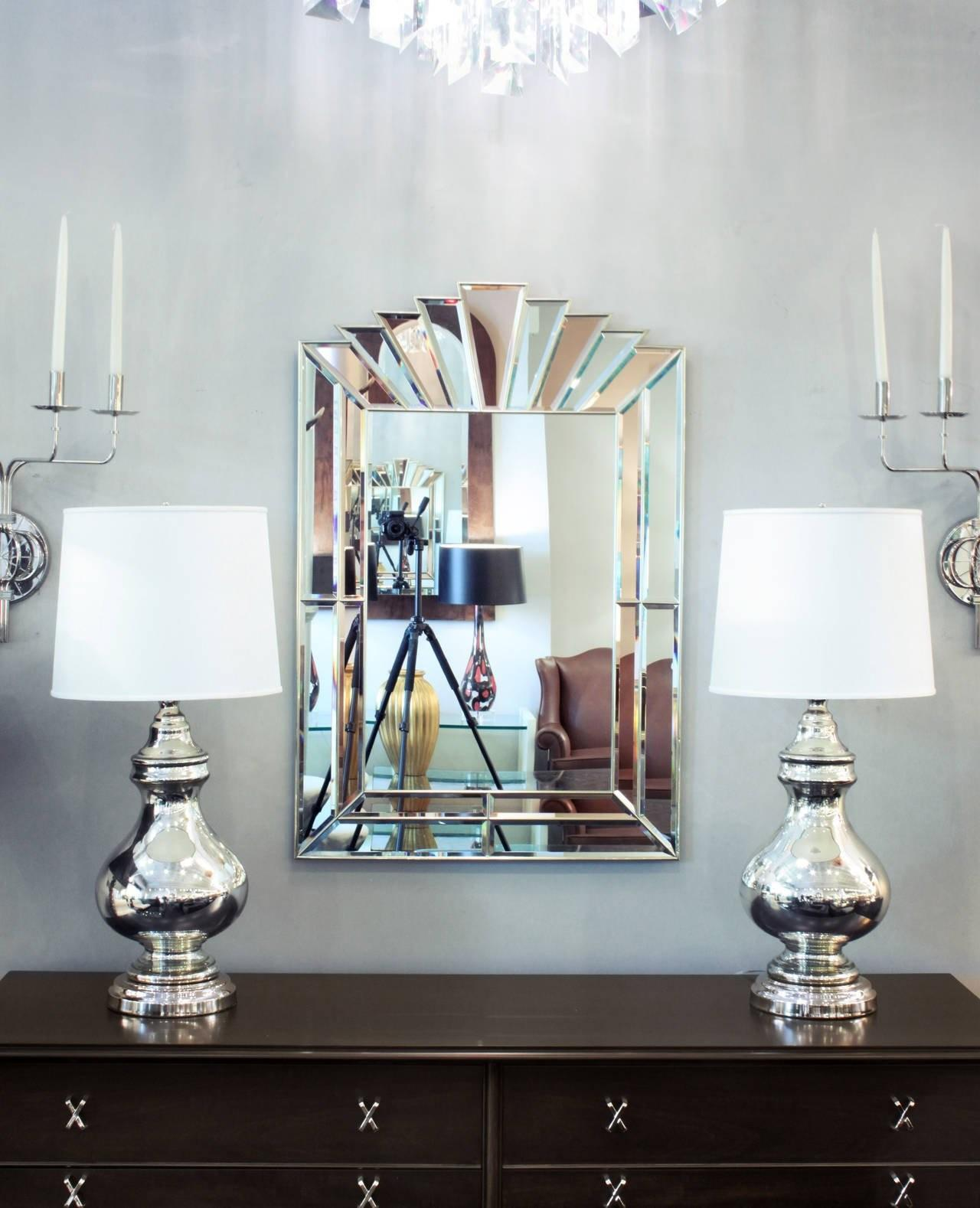 Art Deco Style Mirror Clear Champagne Tinted
